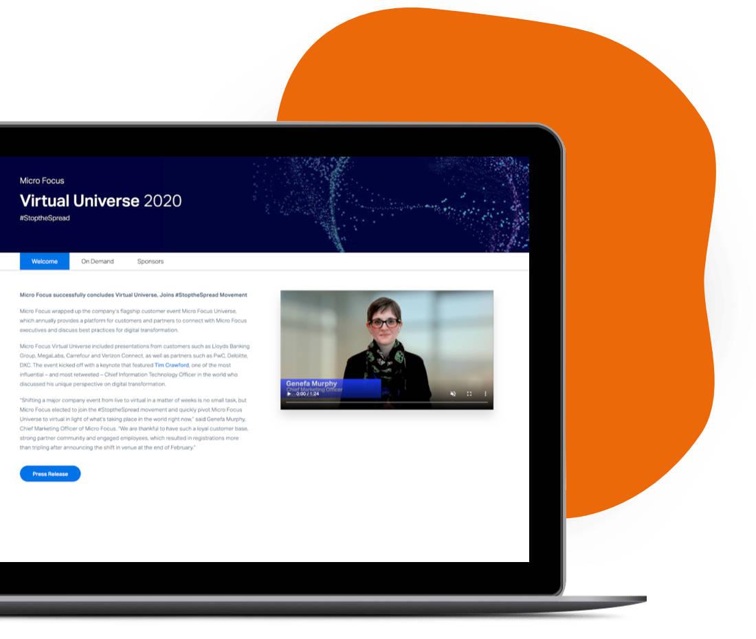 Laptop mit MicroFocus Virtual Universe 2020 Screen